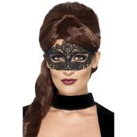 Venetiaans Masker Kant Borduur Zwart