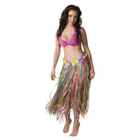 Hawaii rokje rafiia stro veelkleurig 80cm