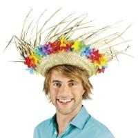 Hawaii hoed stro met bloemen Sammy