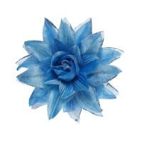 Hawaii bloem haarclip glitter blauw