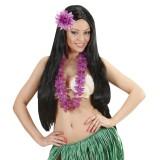 Hawaii bloem haarclip glitter paars