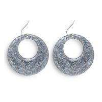 Disco glitter oorbellen zilver