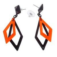 Oorbellen ruitvorm zwart fluo neon oranje