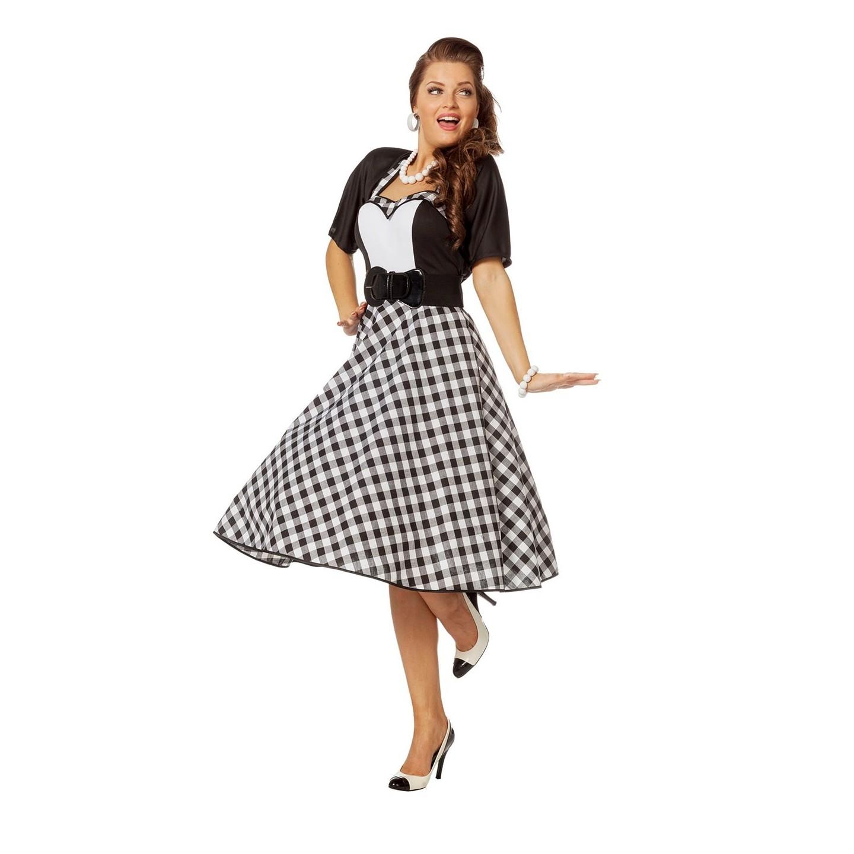 2a17444a6ae154 Jaren 50 kleding jurk + bolero zwart wit