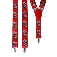 Tiroler bretellen rood met edelweiss bloemen