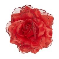 Haarbloem haarclip met glitter rode roos