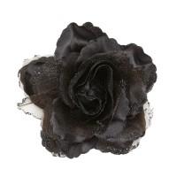 Haarbloem haarclip met glitter zwarte roos