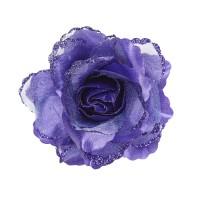 Haarbloem haarclip met glitter paarse roos