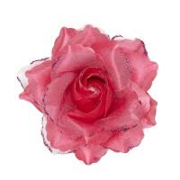 Haarbloem haarclip met glitter roze roos