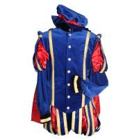 Zwarte Pietenpak luxe Malaga blauw/rood
