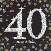 Verjaardag servetten 40 jaar (16st)