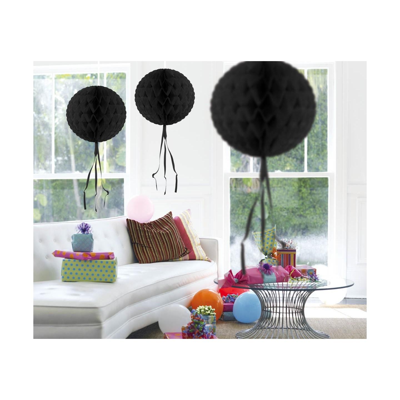 Honeycomb Bol Papier Zwart 30cm decoratie versiering feestartikelen