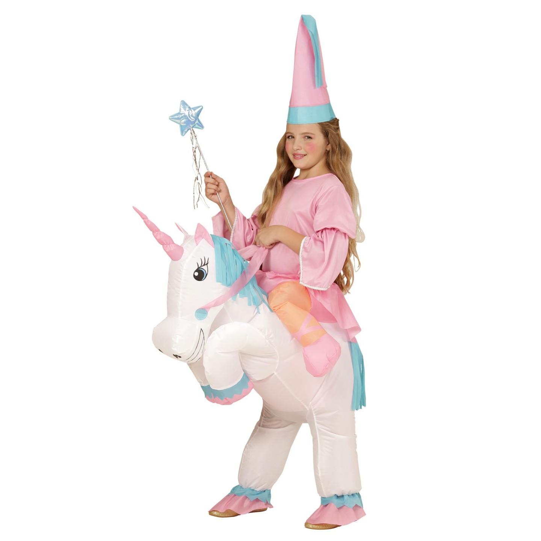 Instap kostuum kind eenhoorn opblaaspak opblaasbaar jump in ride on carnavalskleding verkleedkledij