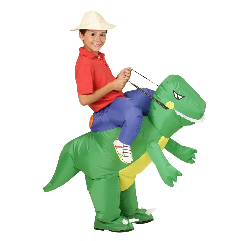 Instap kostuum kind dinosaurus opblaasbaar dino berijdbaar carnavalskledij verkleedkleding