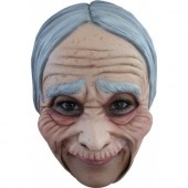 Latex masker kinloos Oude vrouw deluxe oma masker carnaval