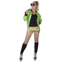 Glitter jasje groen Bomberjacket dames