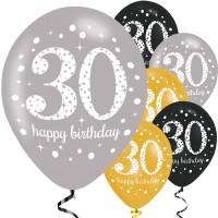 Verjaardag ballonnen 30 jaar Sparkling 6st