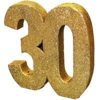 Tafeldecoratie 30 jaar verjaardag cijfer goud