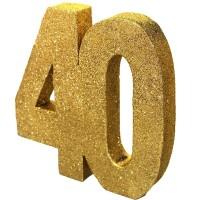 Tafeldecoratie 40 jaar verjaardag cijfer goud