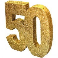 Tafeldecoratie 50 jaar verjaardag cijfer goud