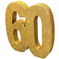 Tafeldecoratie 60 jaar verjaardag cijfer goud