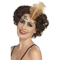 Charleston haarband met 1 veer goud