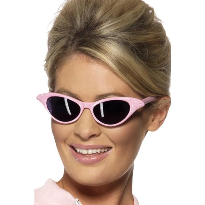 Jaren 50 zonnebril Rock & roll bril roze