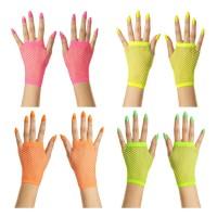 fluo neon vingerloze visnet handschoenen kort