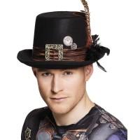 Steampunk hoed zwart Plumepunk