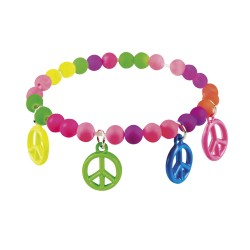 Hippie armband peace teken row muliticolor
