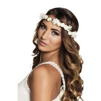 Bloemen haarband wit Ibiza hoofdband