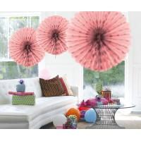 Honeycomb Fan Papier roze 45cm