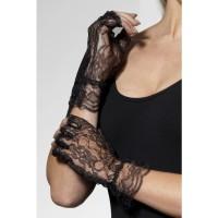 Kanten handschoenen kort zwart vingerloos