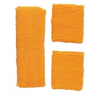Fluo zweetband setje neon oranje