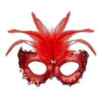 venetiaans masker gemaskerd bal rood veren