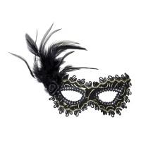 Venetiaans Masker roos + veren zwart/goud