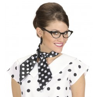 sjaaltje polka dots haarlint zwart wit