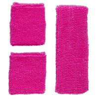 Fluo zweetband setje neon roze