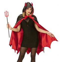 Duivel cape met kap en duivelsoortjes