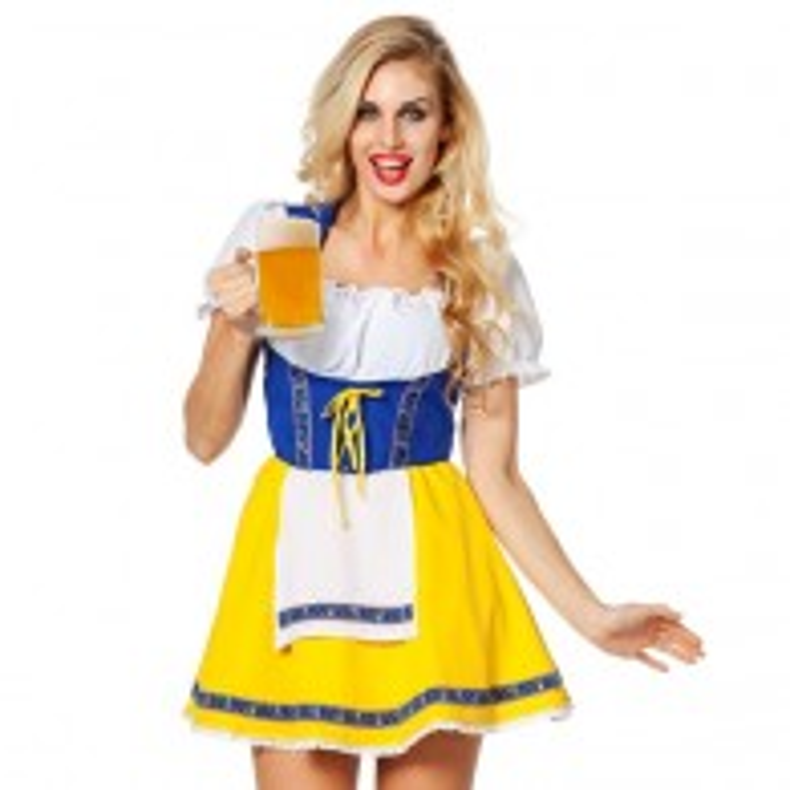 Dirndl jurk Tiroler biermeisje geel/blauw
