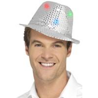 Glitter hoed zilver met LED lichtjes