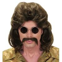 pruik snor heren jaren 70 disco