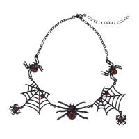Strass spinnenweb halsketting zwart