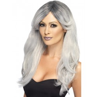 Feestpruik grijs met zwart Ghostly glamour