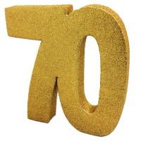 Tafeldecoratie 70 jaar verjaardag cijfer goud