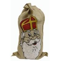 Jute zak met Sinterklaas opdruk 85x50cm