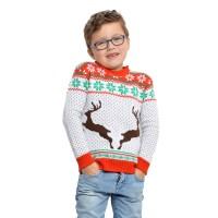 Foute Kersttrui kind wit met rendieren