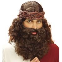 Jezus pruik en baard bruin