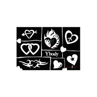 Glitter tattoo sjablonen Y body hearts