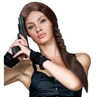 Pruik Lara Croft met bruine vlecht